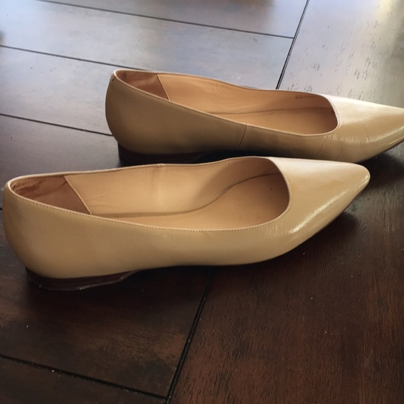 5cb0a58ee0989 Cole Haan embossed patent nude flats